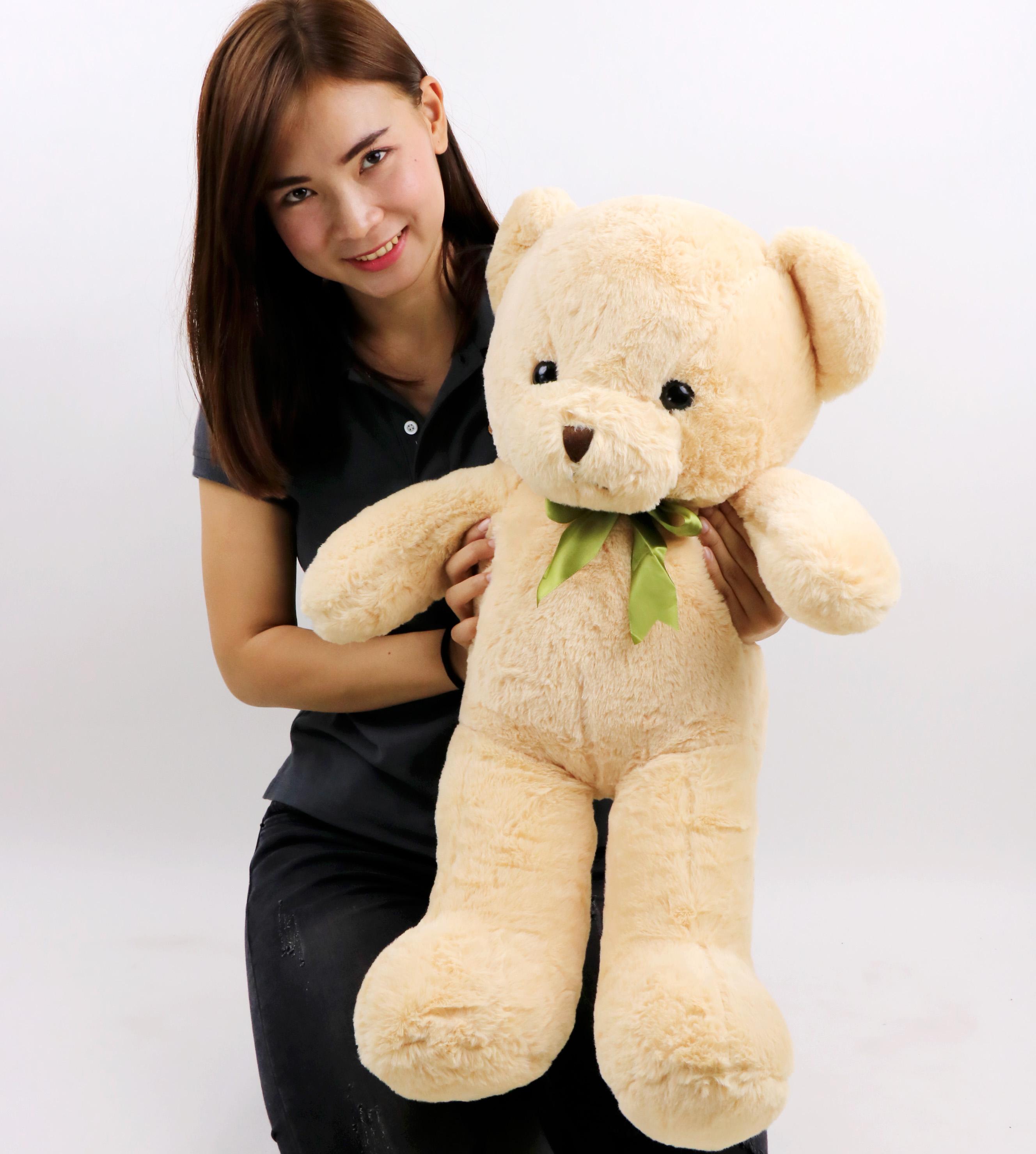 ตุ๊กตาหมีหน้าสวย ขนนุ่ม ขนาด 80 ซม. ผูกริบบิ้น น่ารักมาก