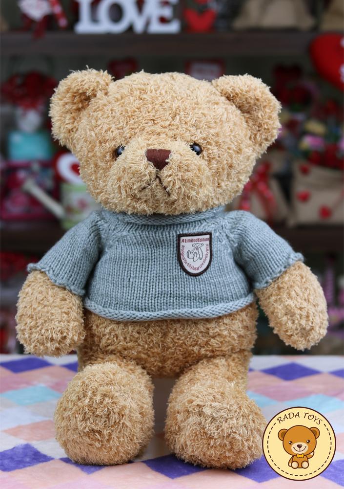 ตุ๊กตาหมีขนหยิก ใส่เสื้อไหมพรมสีเทา ขนาด 40 ซม