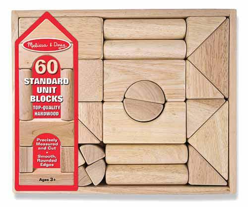 Melissa & Doug รุ่น 503 Standard Unit Blocks ชุดบล๊อคไม้สุดคลาสสิค ขนาดใหญ่ บังคับมือให้สอดคล้องกับสมอง ส่งเสริมการเล่นอย่างสร้างเสริมจินตนาการ