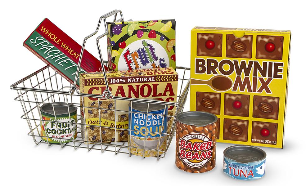 Melissa & Doug รุ่น 5171 ตะกร้าช๊อปปิ้ง พร้อมกล่องและอุปกรณ์อาหาร เป็นอุปกรณ์เสริมเล่นการทำการค้าขาย การซื้อของ การขายของ การทำอาหาร ส่งเสริมการเล่นสวมบทบาท Grocery Basket with Play Food
