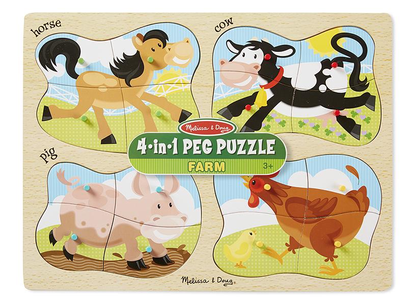 Melissa & Doug รุ่น 9858 4-in-1 Farm Peg Puzzle ชุดจิ๊กซอ 4 ชิ้น 4 ลาย (16 ชิ้น ) รูปฟาร์ม  เสริมการเรียนรู้สิ่งรอบตัว การคิดแก้ปัญหา และ การมีสมาธิ