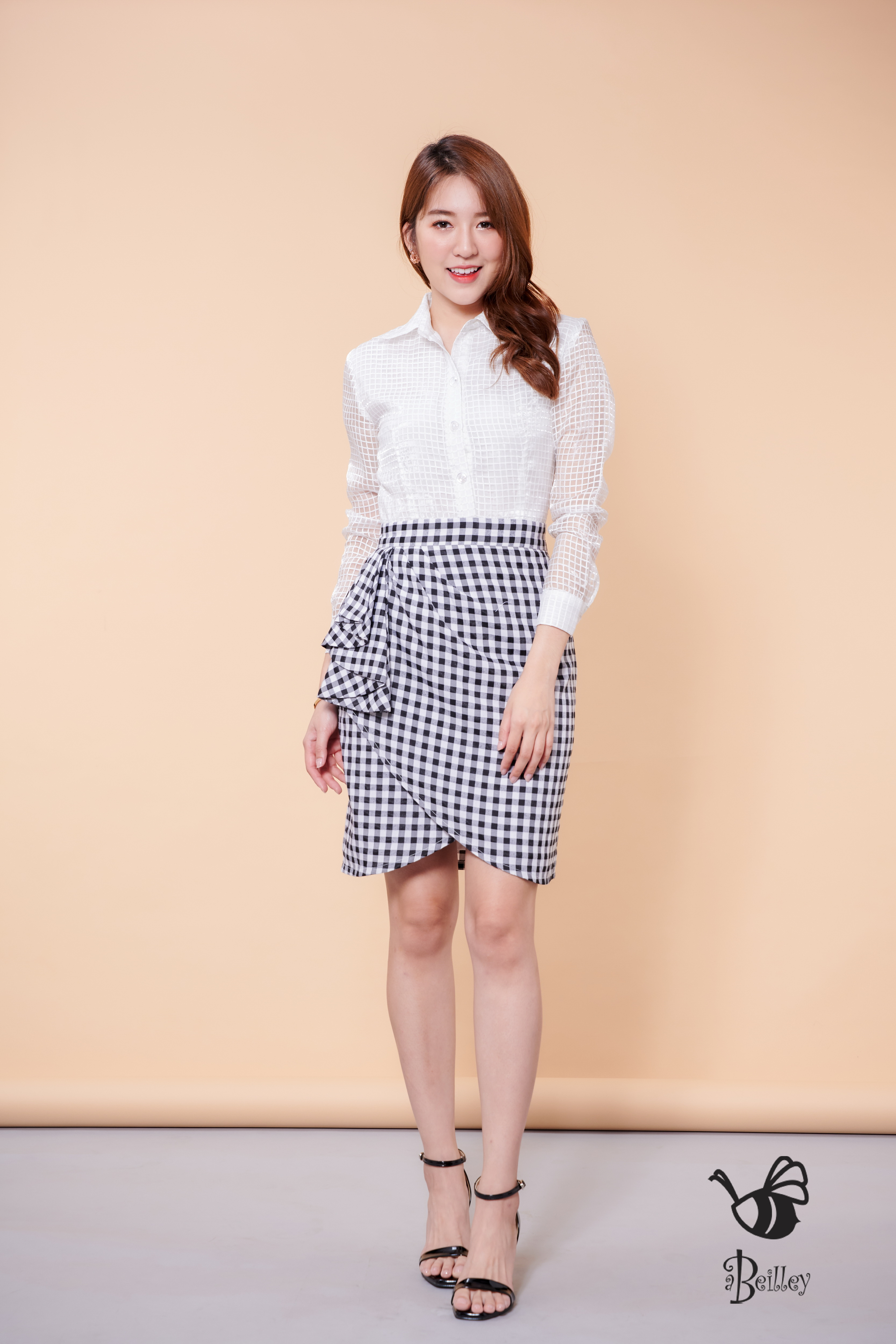 Crystal White Black Square Dress