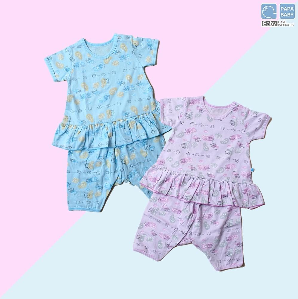 PAPA ชุดเด็กหญิงคอกลมกระดุมไหล่ระบาย พร้อมกางเกงขาสามส่วน ไซส์ 0-8 เดือน ทำจาก Cotton 100% นุ่ม ใส่เย็นสบาย