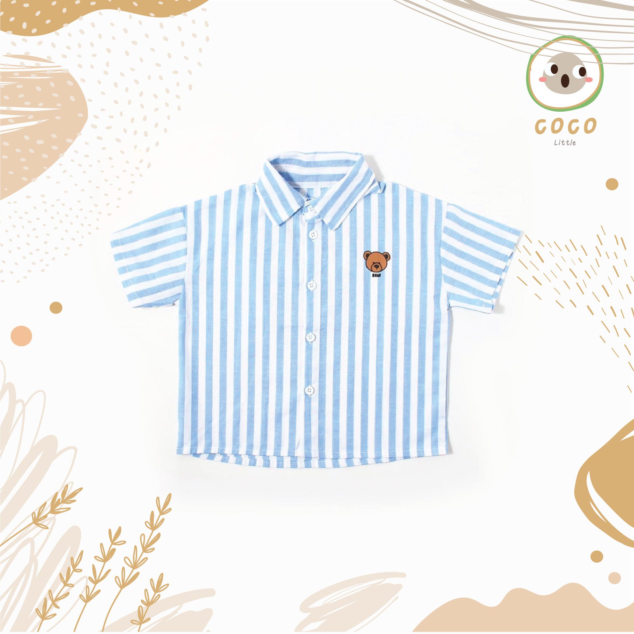 COCO BY PAPA เสื้อเชิ้ตคอปก แขนสั้น สกรีนลายน้องหมี เสื้อเชิ้ตเด็กชาย Toddles Boy Bear Shirt  เนื่อผ้านิ่ม สวมใส่สบาย
