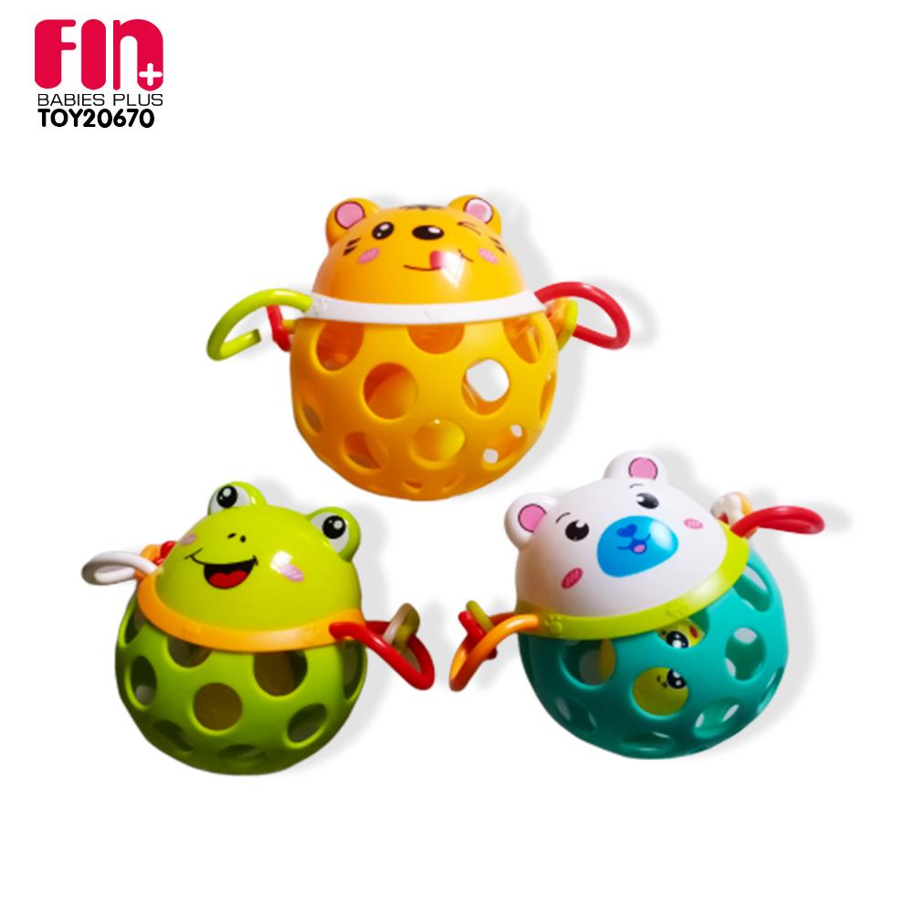 FIN ลูกบอลเขย่ามือเสริมทักษะรูปสัตว์ มีเสียงกรุ๊งกริ๊ง บีบได้  รุ่น TOY20670 มีให้เลือก 3 แบบ