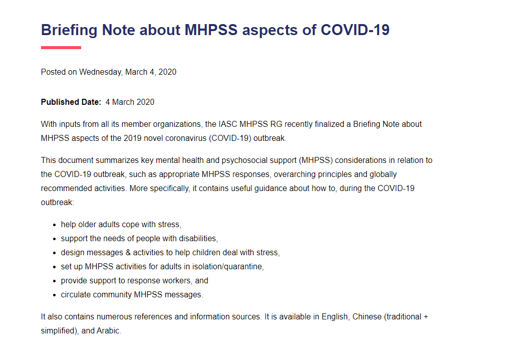 Briefing note on addressing mental health and psychosocial aspects of COVID-19 Outbreak Version 1.1