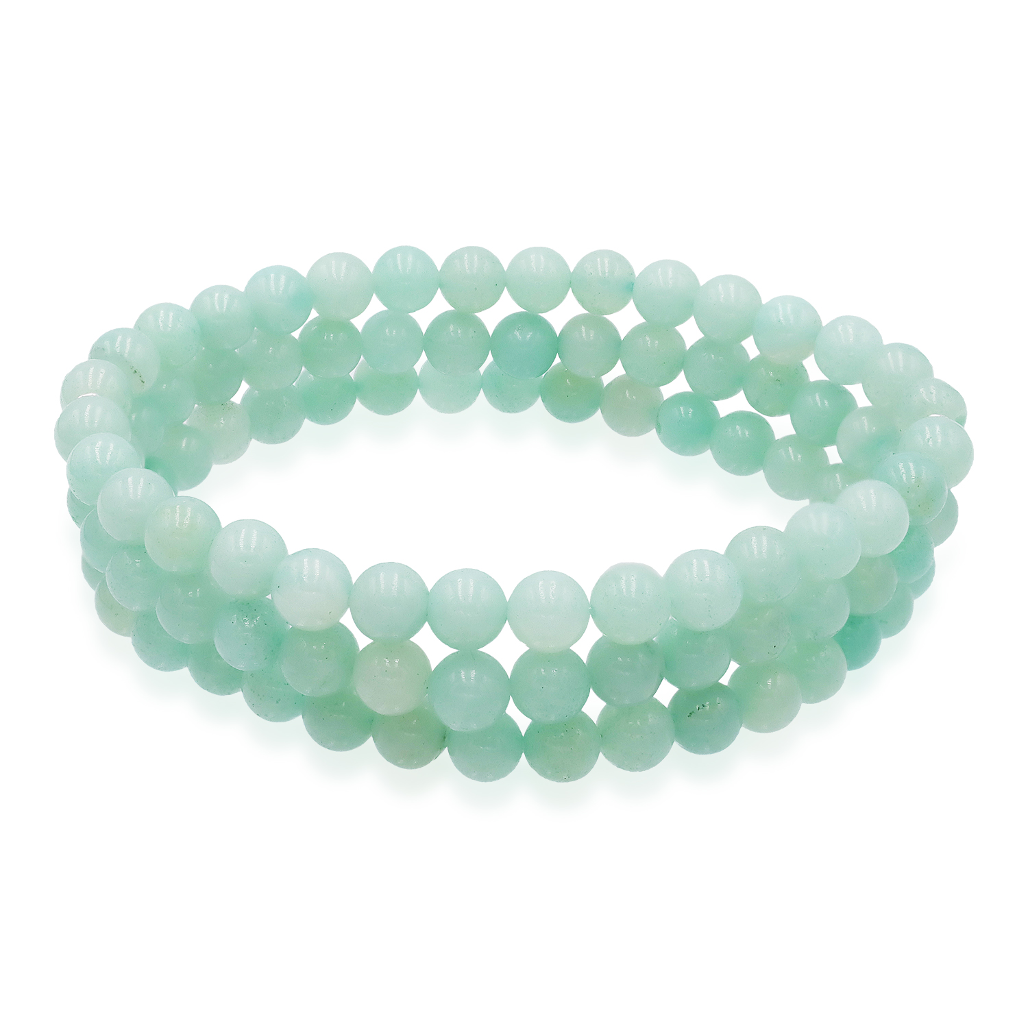 Amazonite 6 mm. Bead with Sterling Silver Bar Stretch Bracelet
