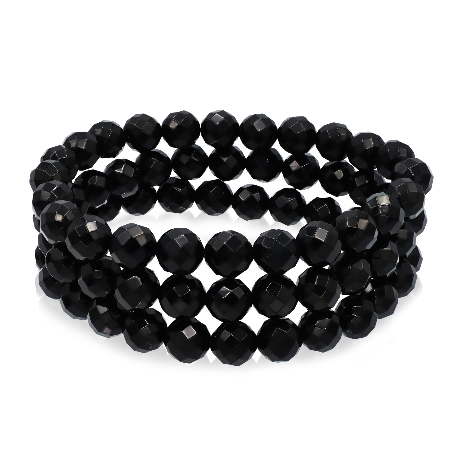 Faceted Onyx 8 mm. Bead with Sterling Silver Bar Stretch Bracelet