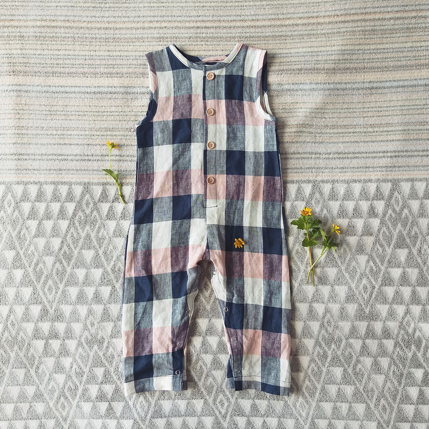 BOYS & GIRLS ROLL UP JUMPSUIT 100% CHECKED LINEN
