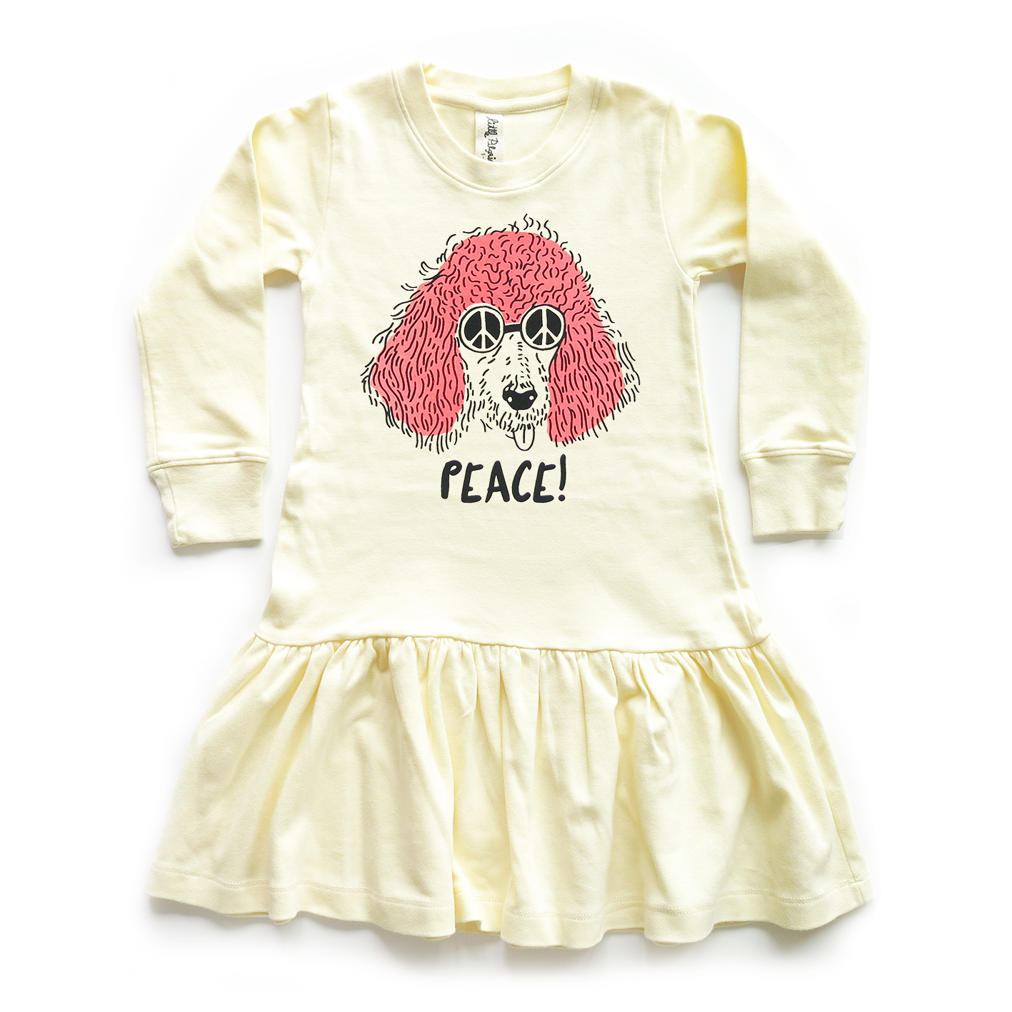GIRL DRESS 1-7Y. LP0683 PEACE DRESS WITH RUFFLED