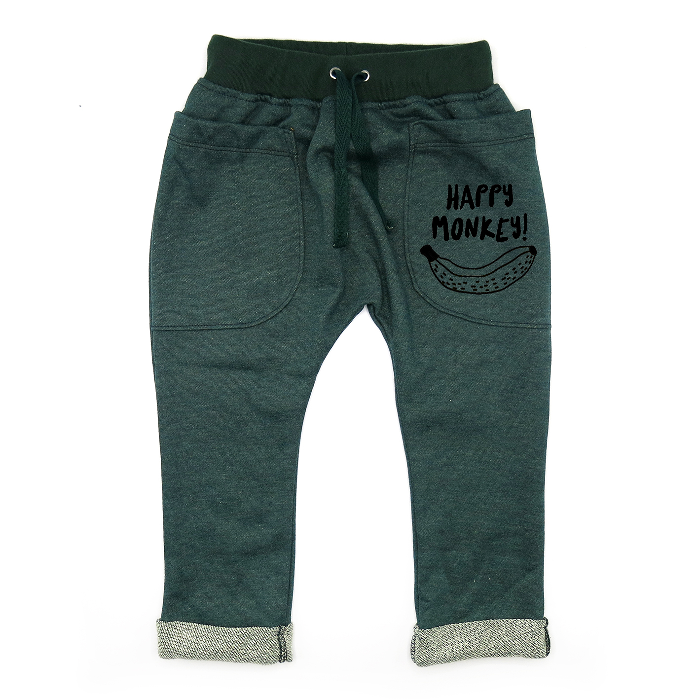 BABY&KIDS LP05128 [D] 0M.-7Y .HAPPY MONKEY ROLL UP SLOUCH PANTS