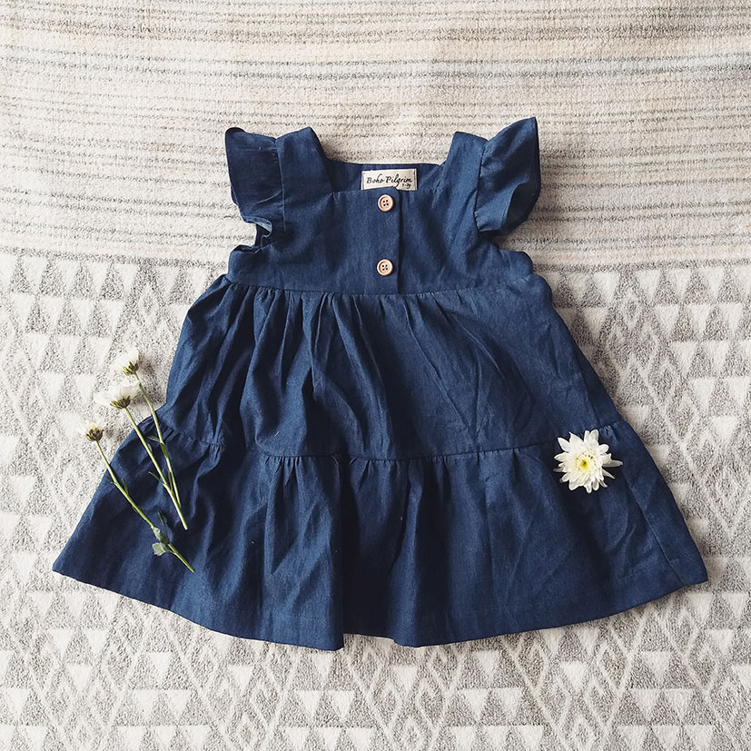 FLUTTER SLEEVES DRESS / INDIGO 100%COTTON DENIM