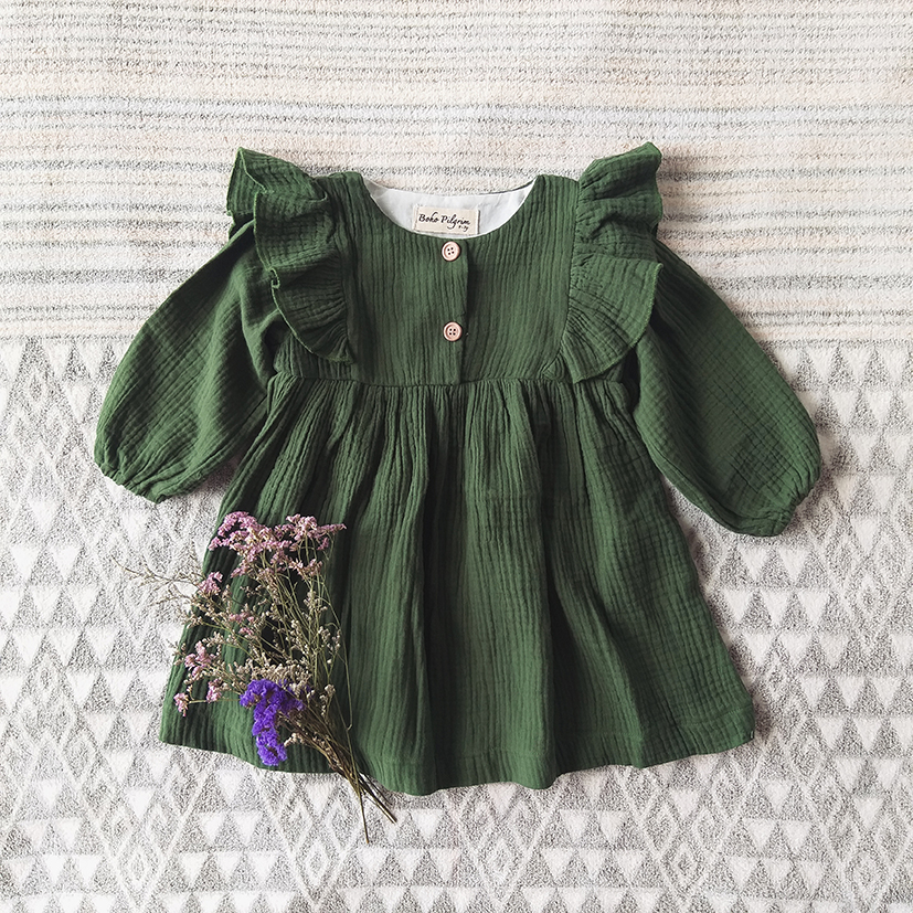 LONG SLEEVES RUFFLE DRESS 100%COTTON CRINKLE FOREST GREEN