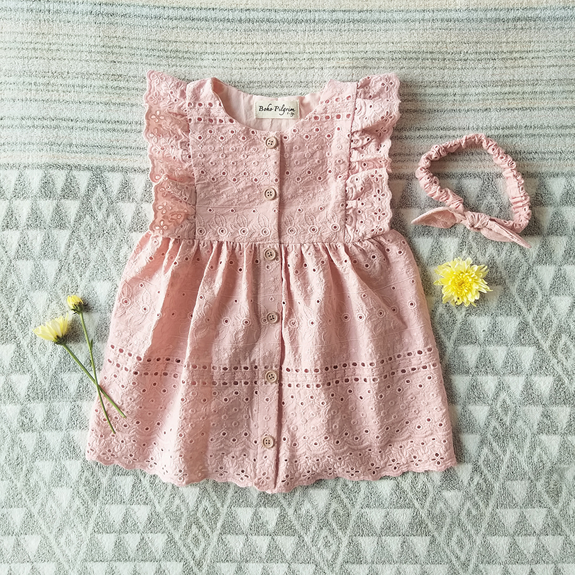 FLUTTER SLEEVES DRESS / PEACH EMBROIDERY 100%COTTON
