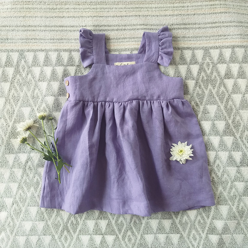 FLUTTER SLEEVES DRESS 100% LINEN STONE WASHED TO BE SOFT