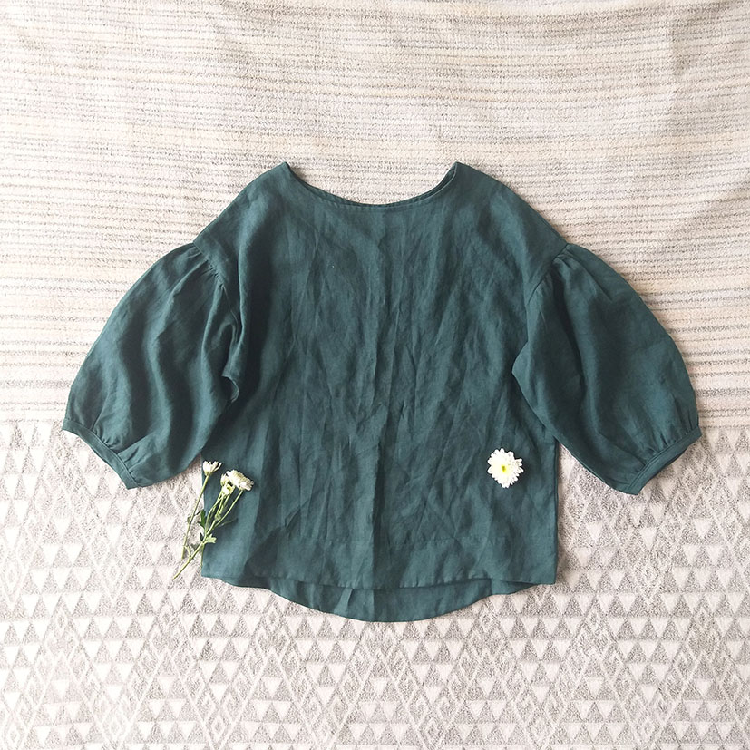 PUFF SLEEVES BLOUSE 100% LINEN