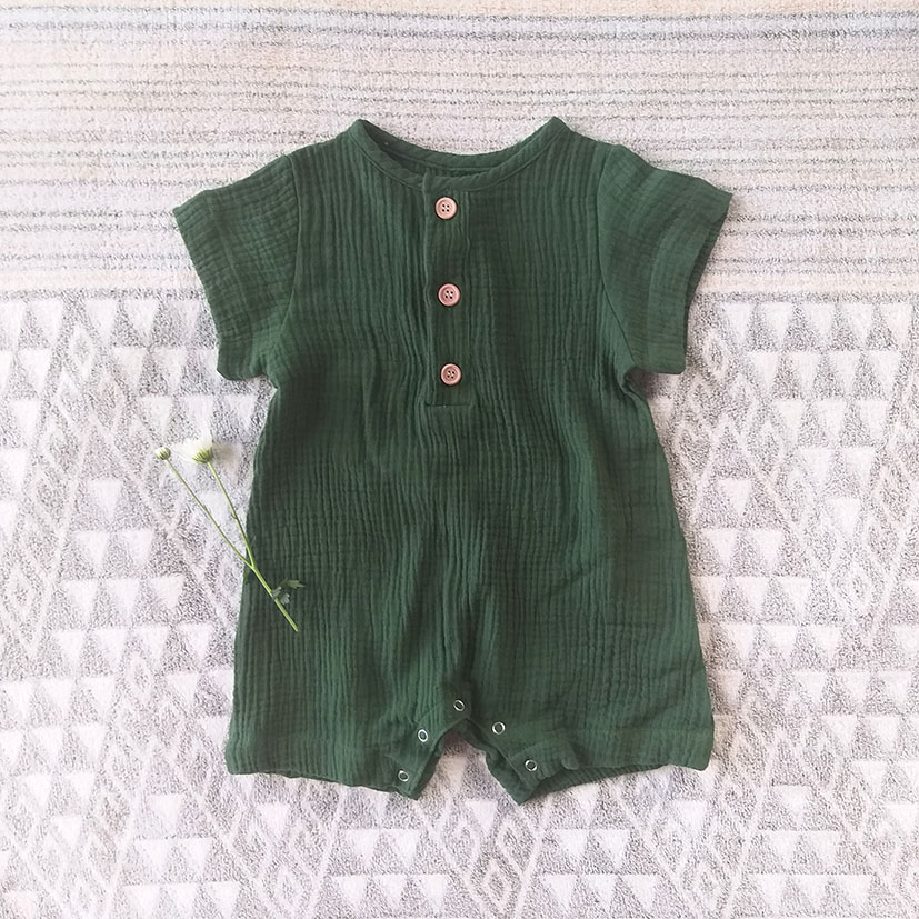 BOYS & GIRLS BUTTONS FRONT ROMPER 100% COTTON CRINKLE FOREST GREEN