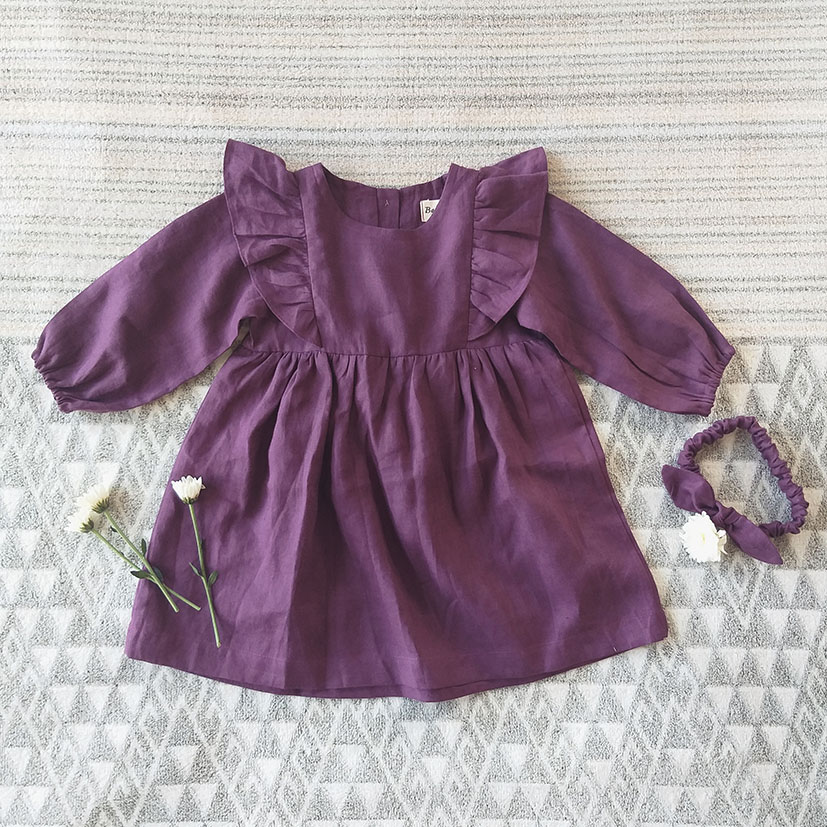 LONG SLEEVES RUFFLE DRESS BUTTONS BACK 100% LILAC LINEN STONE WASHED