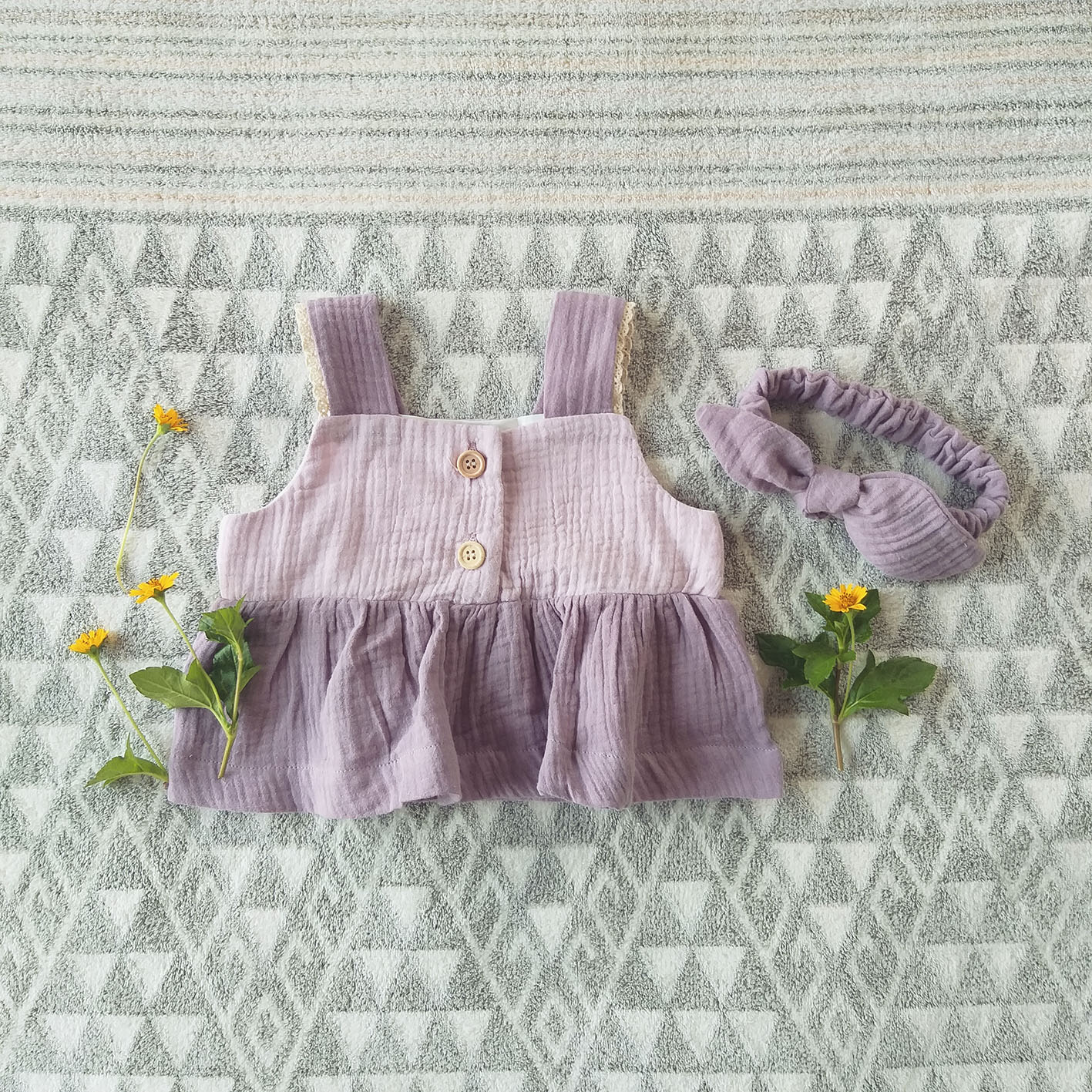 GIRLS TWO TONE BLOUSE / 100% COTTON CRINKLE LILAC & DUSTY PINK