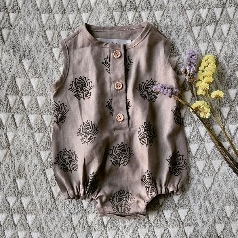 DUSKY PURPLE GREY 100% LINEN WITH HAND STAMPED