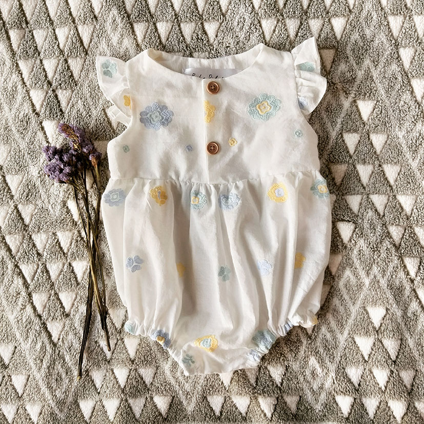 DAISY EMBROIDERY FLUTTER SLEEVES  ROMPER 100% COTTON MUSLIN