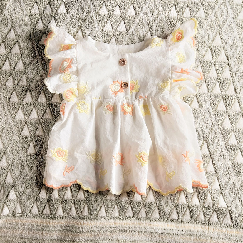 SAMPLE MADE FROM VINTAGE ROSE EMBROIDERY MUSLIN