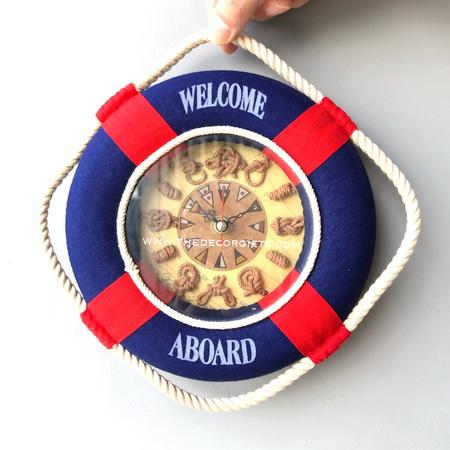 นาฬิกาแขวนผนัง ห่วงชูชีพ (น้ำเงินสด) แนวทะเล