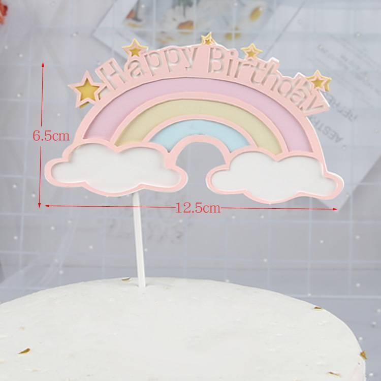 ป้ายกระดาษHBD สายรุ้งสีชมพูพาสเทลและก้อนเมฆเล็ก (1 แพค 5 ชิ้น)