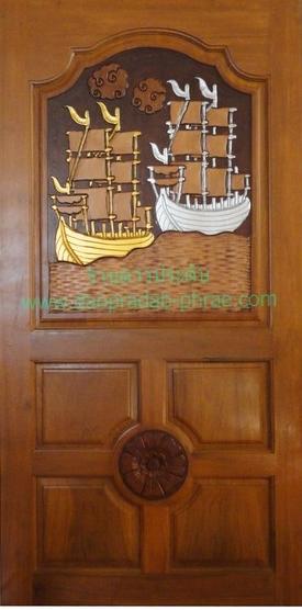 ประตูไม้สัก สำเภาเงิน-สำเภาทอง