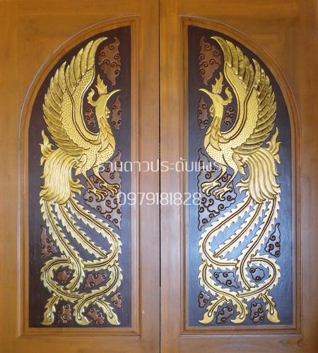 ประตูไม้สักโค้งคู่หงส์