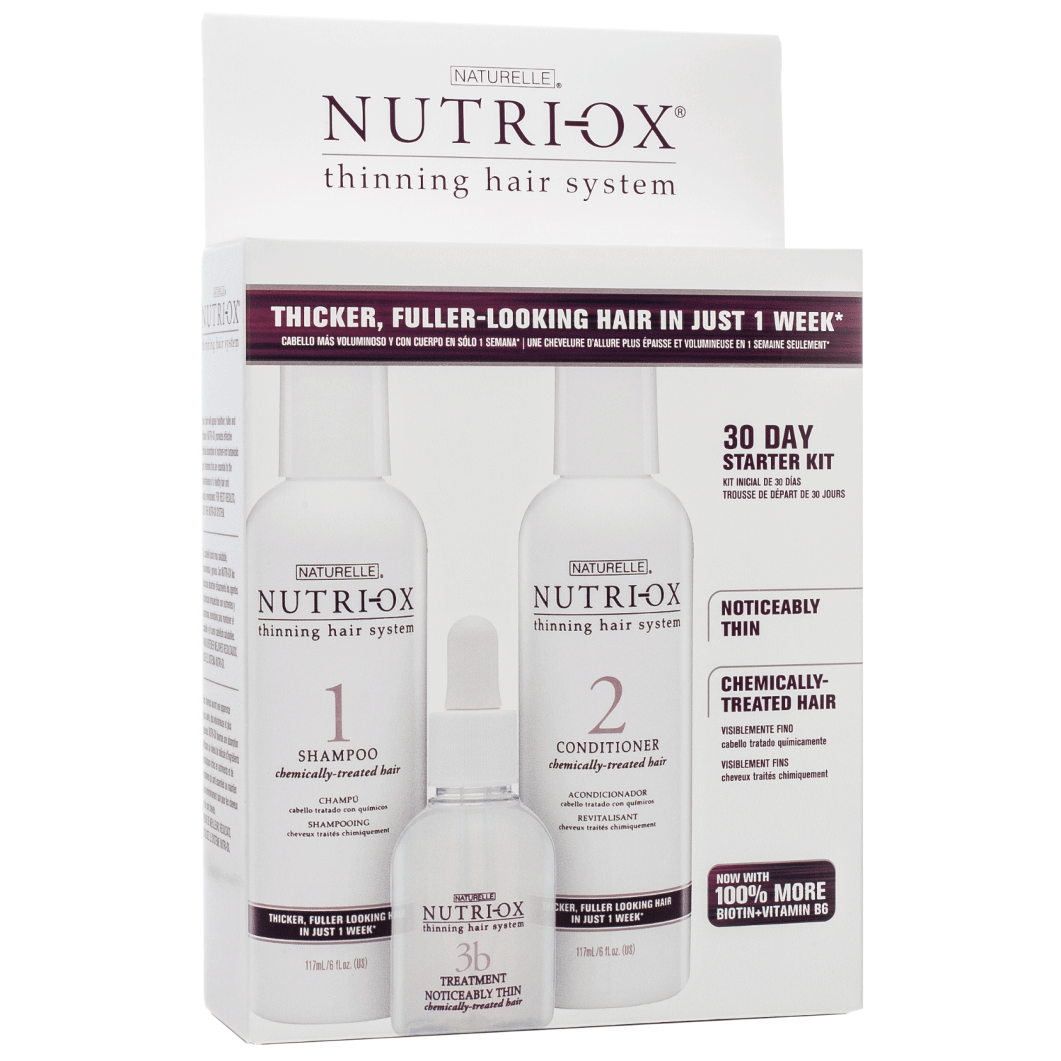 Nutri-Ox Starter Kit for Noticably Thin Hair Color Treated Hair 3 Step