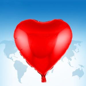 """ฟอยล์หัวใจ 18"""" สีแดง"""