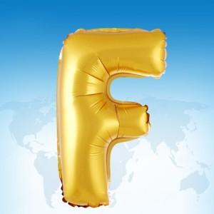 ฟอยล์ตัวอักษร 40 นิ้ว สีทอง F