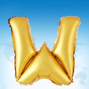ฟอยล์ตัวอักษร 40 นิ้ว สีทอง W