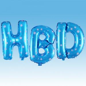 ฟอยล์ตัวอักษร HBD 16 นิ้ว สีฟ้า