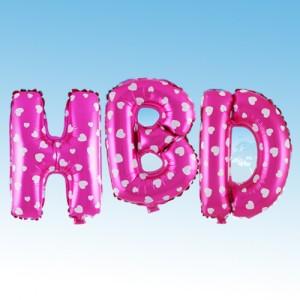 ฟอยล์ตัวอักษร HBD 16 นิ้ว สีชมพู