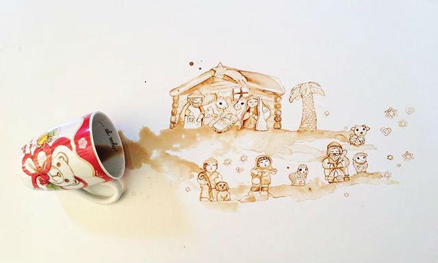 """""""งานศิลปะจากคราบกาแฟ"""" เทปุ๊ปสวยปั๊ป"""