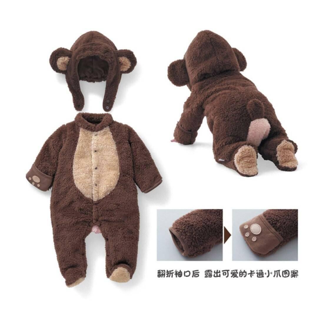 บอดี้สูท BABY ANIMAL  หมีสีน้ำตาลช็อคโกแลต
