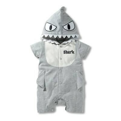 บอดี้สูทเด็กลาย Shark สีเทา
