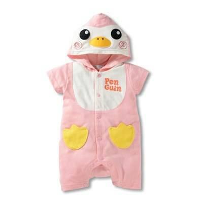 บอดี้สูทเด็ก Penguin สีชมพู