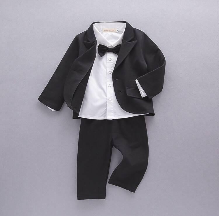 ชุดสูทเด็กชาย Set 3 ชิ้น สีดำ