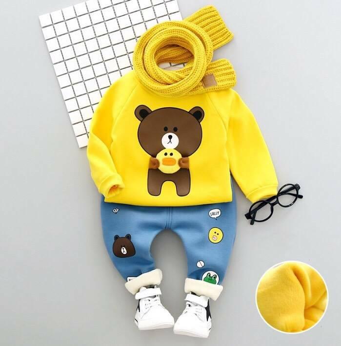 ชุดเซ็ทชายลายหมีบราวน์สีเหลือง