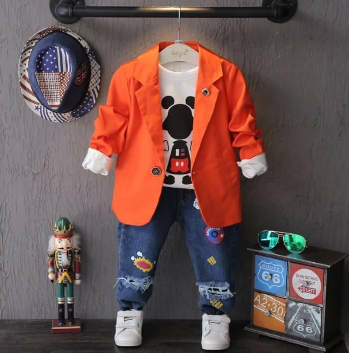เสื้อสูทเด็กชาย สกรีนหลัง สีส้ม