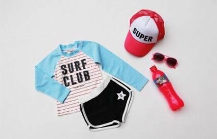ชุดว่ายน้ำเด็กสไตล์สปอร์ต ลาย SURFCLUB สีฟ้า