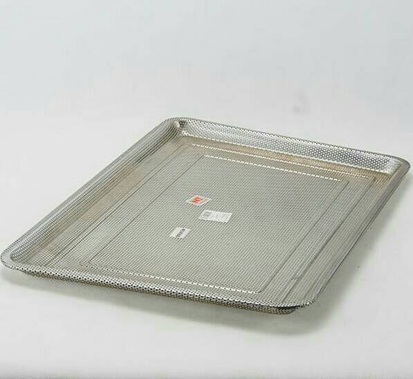 Stainless steel square tray with holes 60x40x2 cm.