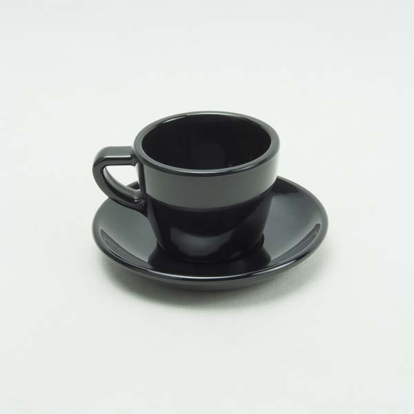 Set of small coffee mugs with  saucers black