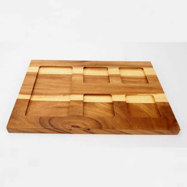 Wooden tray, Square, with 5 holes 24x35.5000 cm