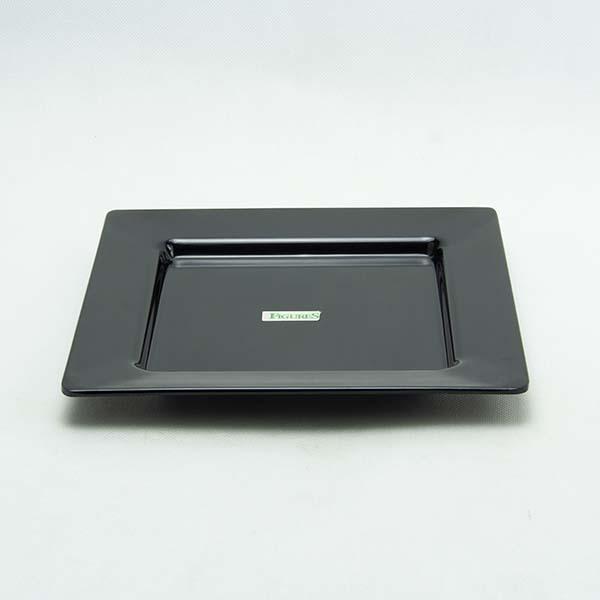 "Plate 8"" black square melamine"