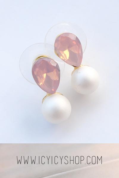 Pear & Pearl Earrings - Pastel Pink