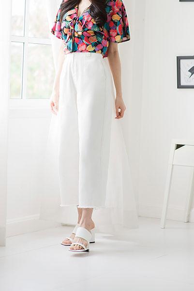 White Denim High Waist Culottes- Cachet